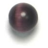 "Cat Eye Beads 6mm Round Purple Strung 16"" Fibre Optic"